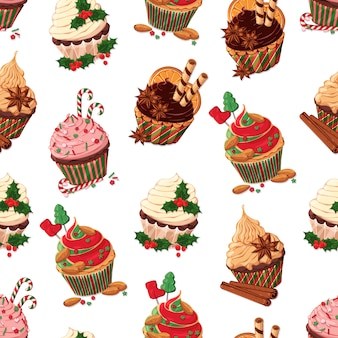 Pattern vector set of different kinds of christmas cupcakes.