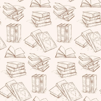 Pattern of vintage books, retro books collection, hand drawn scketch