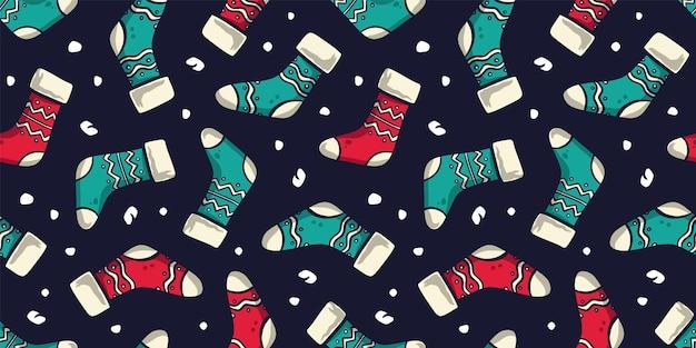 クリスマスまたは冬の靴下のパターン壁紙