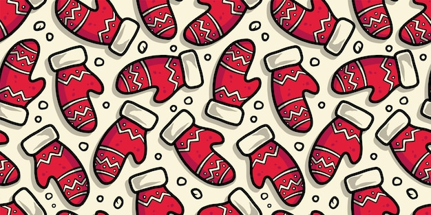 Pattern wallpaper with christmas or winter mittens