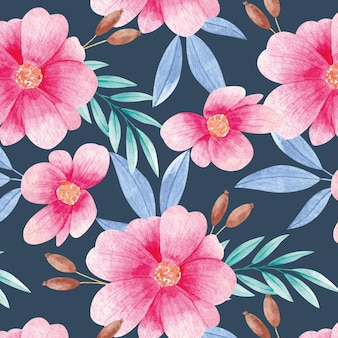 Pattern of watercolor blooming flowers