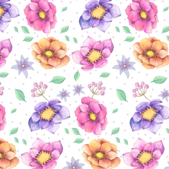 Pattern of watercolor colourful flowers