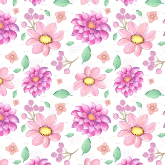 Pattern of watercolor pink flowers