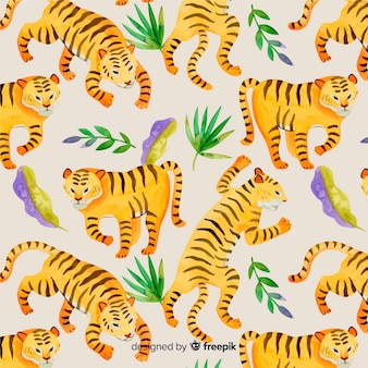 Pattern of wild tiger in watercolor