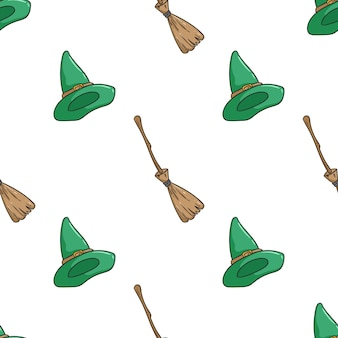 Pattern of witch hat and broom for halloween