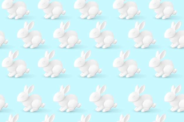 リアルな白うさぎのパターン。イースターのウサギ。