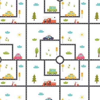 Шаблон с дорожной картой и автомобилями. детская цифровая бумага, вектор рисованной иллюстрации