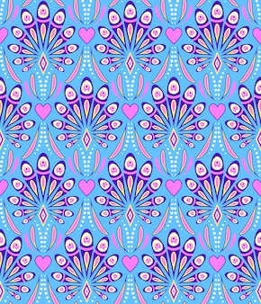 Pattern with abstract peacock feathers
