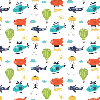 航空輸送飛行船、ヘリコプター、飛行機、パラシュートのパターン。保育園デジタルペーパー、ベクトル手描きイラスト