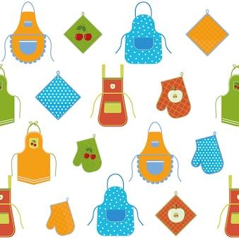 주방과 오븐 장갑을 위한 앞치마가 있는 패턴, 색 벡터 그림 배경 흰색.