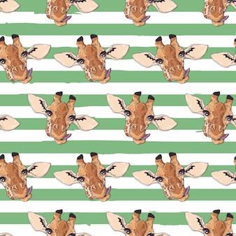 Узор с животными с зелеными и белыми линиями