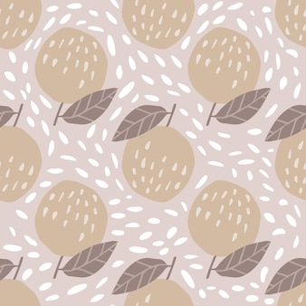 Pattern with apples and leaves