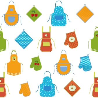 Pattern with an apron for the kitchen and oven mitts, color vector illustration background white.