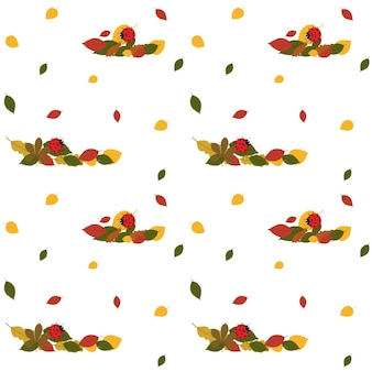 Pattern with autumn leaves and a red ladybug. vector illustration
