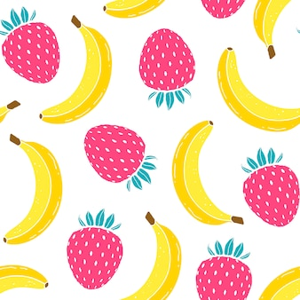 Pattern with bananas and strawberries