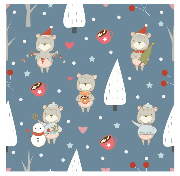Pattern with bear , tree and christmas elements