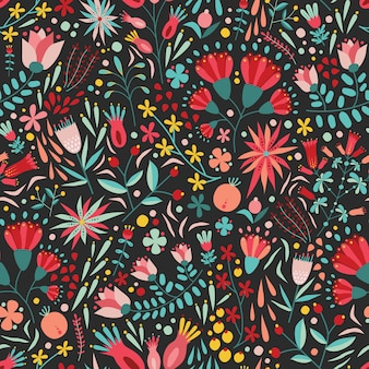 Pattern with beautiful garden blooming flowers on black background.