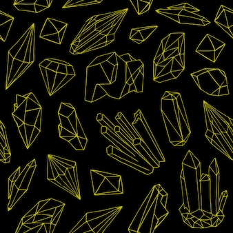 Pattern with beautiful gems, crystals or precious stones hand-drawn with yellow contour lines on black background.