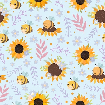 Pattern with bees and sunflowers