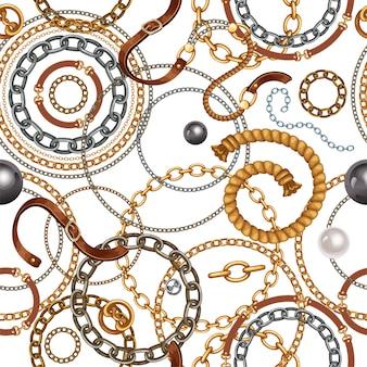 ベルトと金と銀のチェーンのパターン。