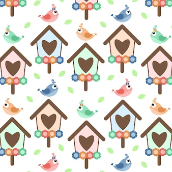 Pattern with birds and hearts