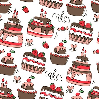 Pattern with birthday cakes