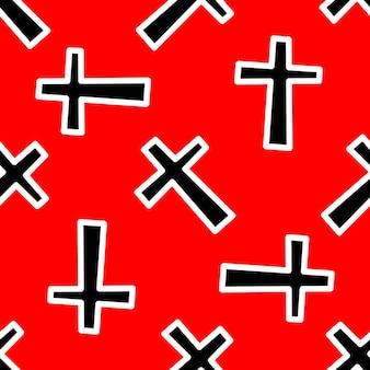赤い背景に黒い十字のパターン