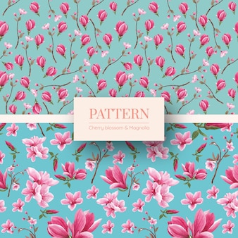 Pattern with blossom bird concept design watercolor illustration