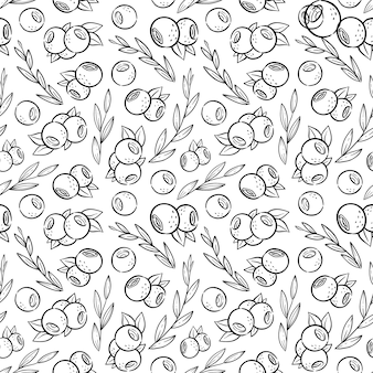 Pattern with blueberry and leaves in kawaii style. coloring page with fruits for cafe