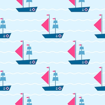 Pattern with boats on the sea waves