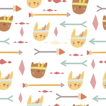 Pattern with boho animals and arrows