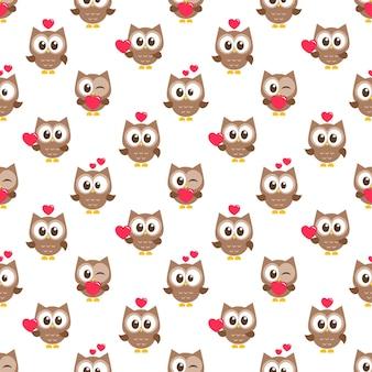 Образец с коричневыми совами с сердечками