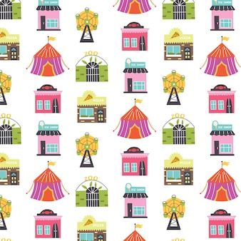 Pattern with buildings ferris wheel, circus, candy store, ice cream store, pizzeria. nursery digital paper, vector hand drawn illustration