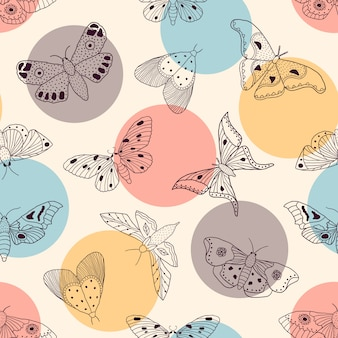 Pattern with butterflies and moths