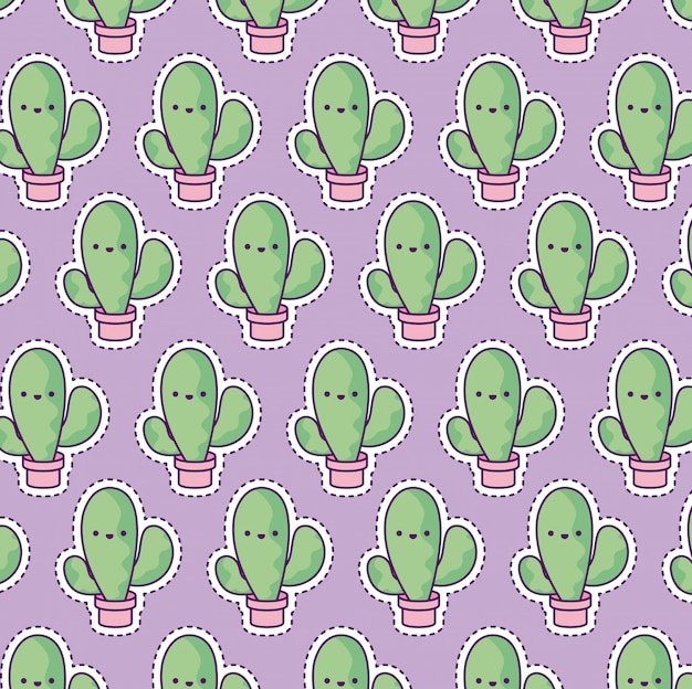 Pattern with cactus tropical