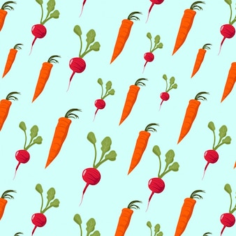 Pattern with carrots and onions on a blue background