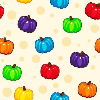 Шаблон с мультфильмом цветные тыквы. векторный фон.