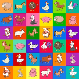 Pattern with cartoon farm animals