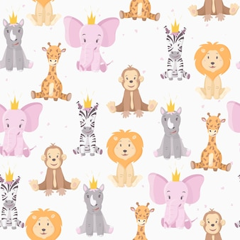の漫画の野生のアフリカの色とりどりの動物のパターン。