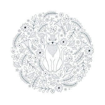 Pattern with cat and flowers on white background