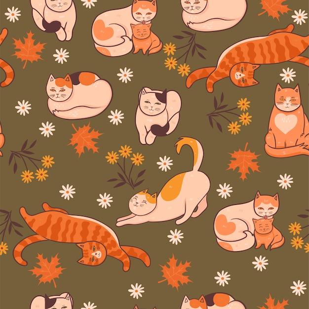 猫、花、葉のパターン。秋の気分。グラフィック。