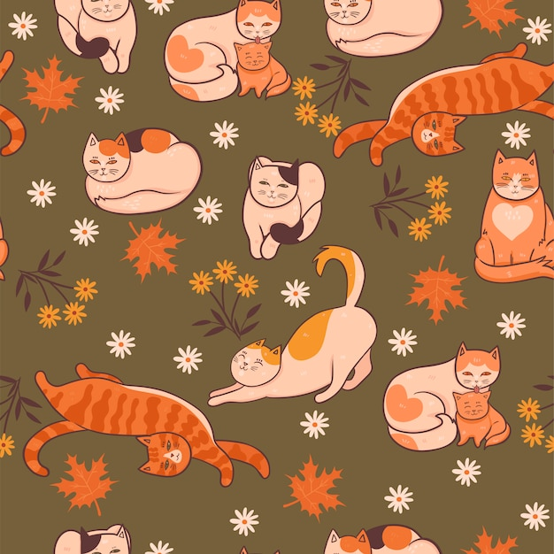 Pattern with cats, flowers and leaves. autumn mood.  graphics.