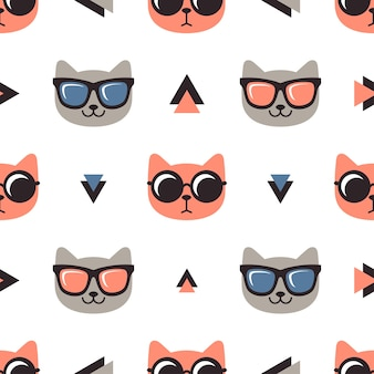 Pattern with cats with glasses on white background