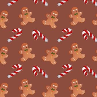 茶色の背景にクリスマスキャンディーとジンジャーブレッドマンのパターン。ベクトルイラスト
