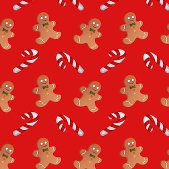 赤い背景の上のクリスマスのキャンディーとジンジャーブレッドの男性とのパターン。ベクトルイラスト