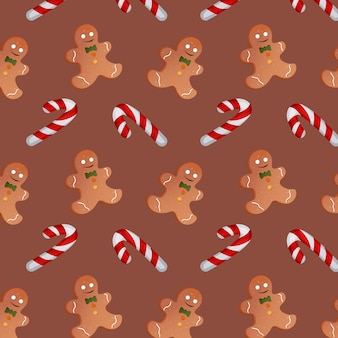 Pattern with christmas candies and gingerbread men on a brown background. vector illustration