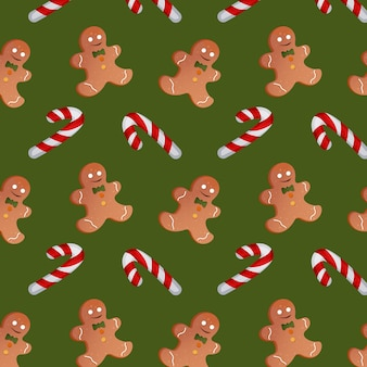Pattern with christmas candies and gingerbread men on a green background. vector illustration