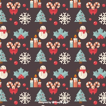 Pattern with christmas trees and snowmen