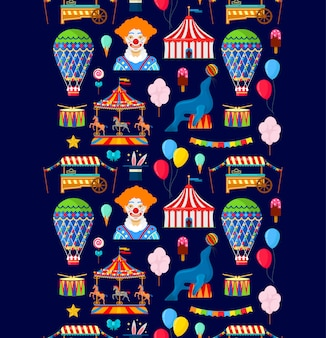 Pattern with circus and amusement elements