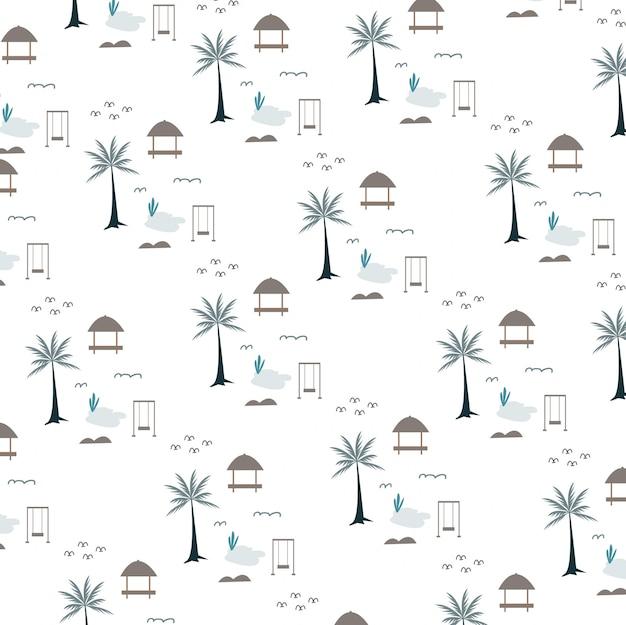ココナッツの木と望楼のパターン